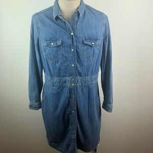 Boden Chambray Denim Button Dress Blue Pearl Snap